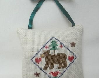 Bear Woodland Cross Stitch Ornament, Lodge Decor Door Pillow, Animal Ornament