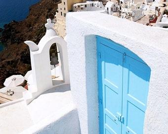 Turquoise Door Photography  - Santorini Greece Photograph - Aqua Blue White Print Greek Art Travel Photography Mediterranean Decor