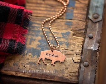 Buffalo Bison Necklace   Hand Stamped Copper Roam Live Free Boho Style Gifts for Women