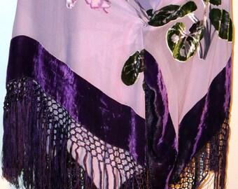 Beautiful Purple Floral Burnt Velvet Shawl/Scarf