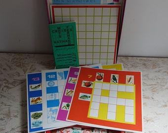 Crossword for little ones - french vintage game - play educational words