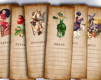 75% OFF SALE Calendar - Digital bookmarks B007 collage sheet printable download image size digital image collage seasons hang tags