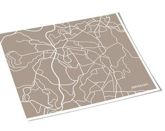 Jerusalem City Map Wall Art / Israel Line Art Print / 8x10 Digital Print / Personalized colors