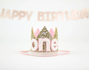 First Birthday Party Hat | Smash Cake Glitter Crown | First Birthday Crown | 1st Birthday Photo Prop | Pale Gold + Pink ONE