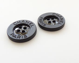 Chanel Paris All Black Metal Buttons New 18mm  / Price is for one button