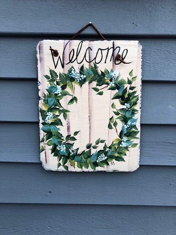 Spring Wreath door hanger, Easter decoration, wreath for front door, Welcome Sign, spring decor, Spring door decor, Spring Welcome sign