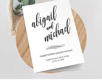 Wedding Program Template, Printable Wedding Ceremony, Order of Service, INSTANT DOWNLOAD, Editable, Folded Program, DIY, Templett #020-114WP