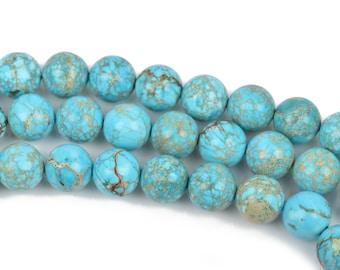 8mm Turquoise Blue VARISCITE Beads, Smooth Round Beads, Round Gemstone Beads, full strand, 50 beads per strand, gms0035