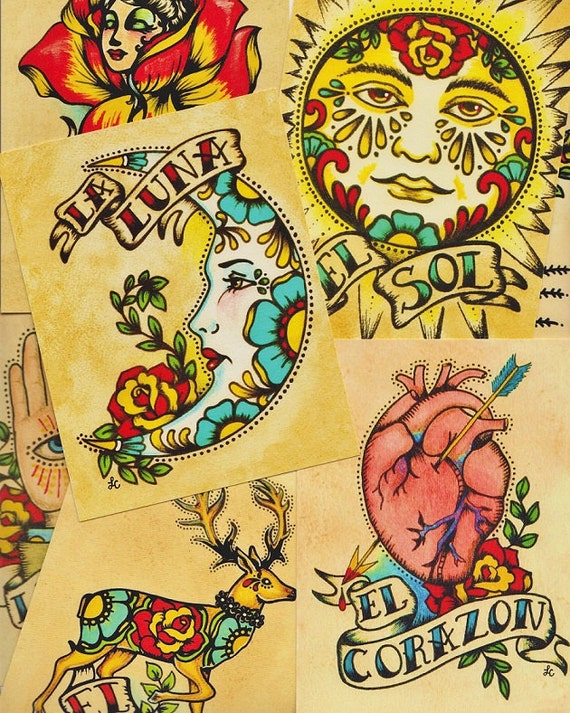 Folk Art POSTCARDS Mexican Loteria Tattoo Art Set of 8