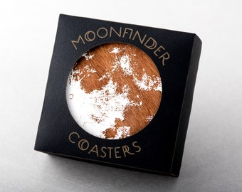 Moon Coasters Wooden White Full Moon Gift Barware Space Science Natural (Set of 4)