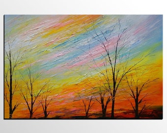 Oil Painting, Canvas Painting, Landscape Painting, Autumn Tree Art, Modern Art, Abstract Art, Large Canvas Art, Wall Art, Abstract Painting