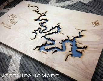 Lake Travis Texas 3-D Lake Sign - Central Texas Handmade Custom with Cities, Compass and Lake Name Engraved - North Idaho Made