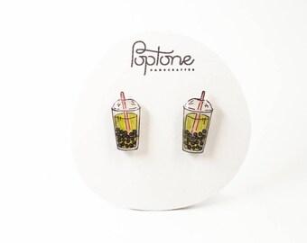 Bubble Tea Earrings, matcha tea cup, boba tea kawaii studs, pink kawaii earrings