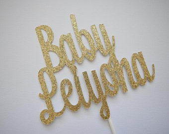 Baby Shower Cake Topper, Baby Cake Topper, Glitter Baby Shower Cake Topper, Glitter Cake Topper, Personalized Baby Shower Cake Topper