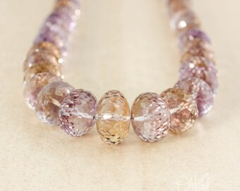 AAA Grade Purple Ametrine Bead Necklace - Citrine & Amethyst Connectors - 14Kt Gold Filled