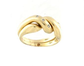14k Yellow Gold Diamond 2 Band Puzzle Ring