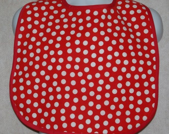 Adult Bib, Red Polka Dot, Gag Gift, Funny, For Dad, Hubby, Wife, Custom Personalized With Name, No Shipping Charge, Ships TODAY, AGFT 706