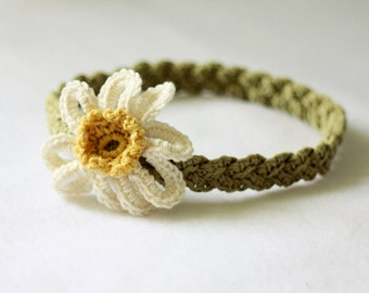 Crochet PATTERN - Daisy Braided Headband (sizes - baby to adult)