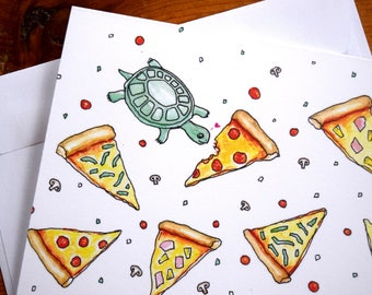 Turtle Card, Turtle Note Card, Pizza Note Card, Blank Note Card