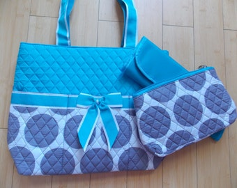 Diaper Bag 3 Piece  Baby Blue Gray Circles Free Personalization