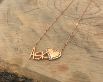 Custom Love Necklace / Dainty Necklace / Heart Necklace / LOVE / Anniversary / Gift / Birthday / Girlfriend or Wife / Daughter / aSsJew7