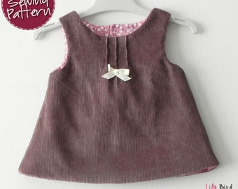 Ava Dress - A-line reversible dress for babies - 0 to 24 months - PDF Pattern and Instructions - easy sew FREE Shipping