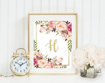 Custom name monogram printable, initial letter, monogram print, floral watercolor print, nursery wall art, gold monogram, custom letter art