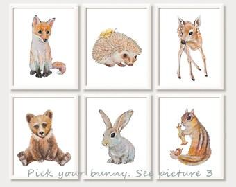Baby Animal Watercolor Prints Woodland Nursery Wall Art Forest Animals Woodland Nursery Paintings Set Bunny Fox Bear Fawn Hedgehog Squirrel