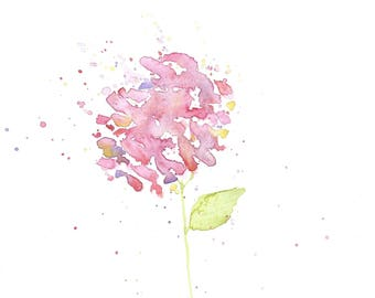 Watercolor Painting, Watercolour Hydrangea Painting, ACEO Print, Flower Painting, Mini Art Print, Flower Watercolor Print, ACEO Painting