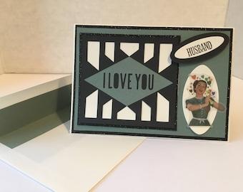 Husband Anniversary or Valentines Day Card Handmade V41