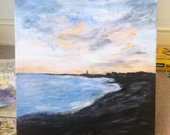 "Original Artwork ""Hove Beach"" Acrylics on Canvas"