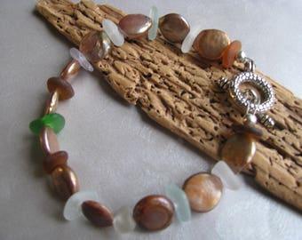 Genuine Sea Glass Bracelet - Beach Glass Jewelry -Beige Beads and Sea Glass - Ocean Jewelry Gifts of the Sea - Pure Sea Glass -PEI sea glass