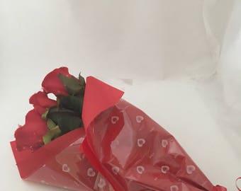 Rose bouquet half a dozen red silk roses