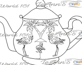 Flamingo Teapot 2 - Digital Stamp