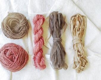 Weaver's Pack, Frame Loom Weaving Kit, Natural Dye, Fiber Bundle, Wool, Silk, Botanical Dye