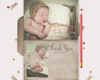 Baby Thank You Cards & Birth Announcement -- BLESSED -- adorable vintage style