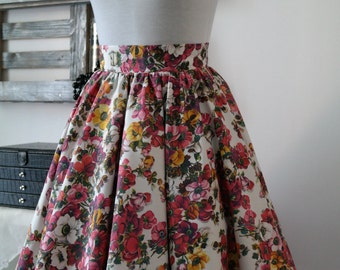 Knee length cotton skirt woman with flowers in full 50 years life Midi skirt wheel ruched cotton Mini Skirt