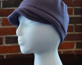 child one size fleece hat with visor