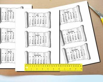2018-2017 Calendars Printable Mini, For Crafts, Planners, PDF File, 2018 calendar, calendars, Digital Download, Printable, Instant Download,