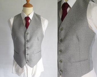 Hommes veste gilet gris, laine gris clair, français formel classique traditionnel, vintage, petit