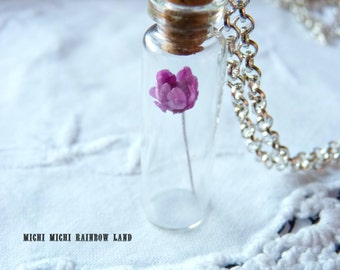 SALE! Spring Pink or Purple Flower Necklace - Black gift box included