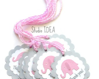 Set of Grey with Pink Elephant  Scallop Thank you Tags with Assorted Twine -Gift Tags, Favor Tags, Label -Set of 12pcs, 24pcs