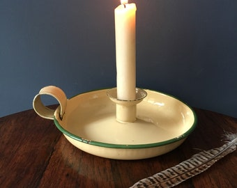 Pale yellow and green enamel candlestick holder - traditional enamel candlestick - enamelware candle holder