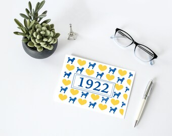 1922 Note Card Set, Sigma Gamma Rho Sorority-inspired A2 Royal Blue and Gold Folded Cards