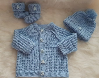 Gwyn Baby Cardigan, Hat & Booties knitting pattern 0-3mths Instant Download