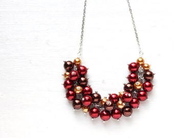 Red, Gold and Brown for Fall Wedding Bridesmaid Jewelry Pearl Cluster Necklace - Chocolate Cherry