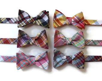 Madras Plaid Bow Tie~Mens Self Tie Bow Tie~Mens Pre Tied~Anniversary Gift~Wedding Tie~HoBo Ties~Cotton Bow Tie~Mens Gift~Wedding~Mens Plaid