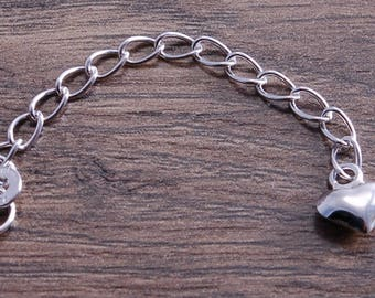 Sterling Silver Extension chain with Puffed Heart Charm DB2A