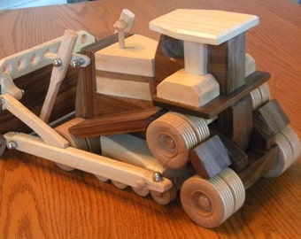 Maple and Walnut Toy Bulldozer - Keepsake Replica