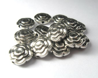 Ruffled Flat Flower 10mm Silver Plated Plated Pewter Beads - Lead Free - 14